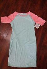 Lularoe Medium Julia Dress Heathered Color Block Mint Green Peach Sleeves