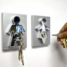 His and Hers Key Holders Stainless Steel Wall Mounted Modern Home Decor by J-ME