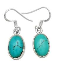 Natural Turquoise Gemstone Earrings Solid 925 Sterling Silver Jewelry IE20653