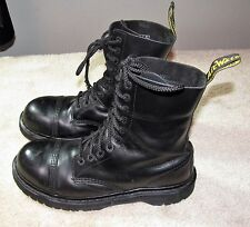 Dr. Martens 10966 10 Eye Black Leather ST Leather Cap Mid Calf Boots 12 US
