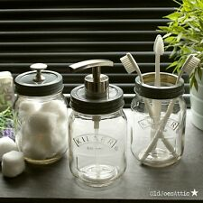 Kilner Mason Jar Vintage Style Bathroom / Kitchen Accessory Set with Grey Tops