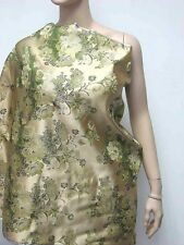 Chinese Artificial Silk Gold Green Floral BROCADE Upholstery Fabric meter