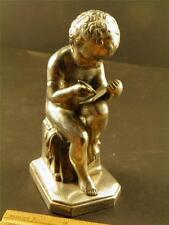 Antique Silver Plate  Figure Young Boy Writing Statue JB Jennings Brothers