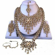 GOLD INDIAN COSTUME JEWELLERY NECKLACE EARRINGS CRYSTAL DIAMOND SET BRIDAL NEW
