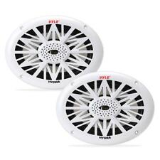 "Pair 6x9"" inch White Waterproof 2-Way Boat Marine Audio Outdoor Stereo Speakers"