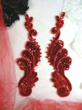 SEQUIN APPLIQUES RED BEADED MIRROR PAIR SEWING PATCH DANCE MOTIFS (0016)
