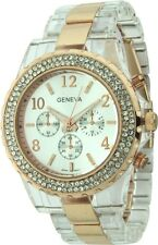 NEW GENEVA CLEAR & ROSE GOLD TONE RESIN BAND CHRONOGRAPH & CRYSTALS WATCH