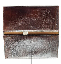 Vintage cheque book holder wallet brown leather 1960s 1970s 1980s
