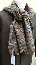 Johnstons Elgin Mens Scarf 100% Cashmere Brown Plaid Check 165cm * 35cm RRP £129