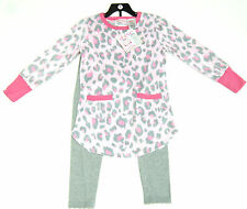St. Eve Girls 2 Piece Pyjamas Set, Pink Fleece Top & Grey Bottoms 7 Years BNWT