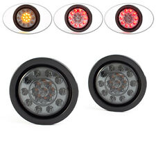 """4"""" Universal Flush Mount Smoked Lens Integrated LED Stop Taillight + Indicators"""