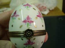 Authentic French hand painted porcelain egg Limoges box trinket signed
