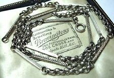 """Vintage Art Deco Solid Sterling Silver Chain Link 20.75"""" Long NECKLACE 13.33g"""