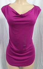 """ANN TAYLOR"" MAGENTA WATERFALL NECKLINE KNIT SHIRT BLOUSE TOP SIZE: L NWT"