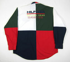 90S VTG TOMMY HILFIGER SAILING GEAR BIG LOGO COLORBLOCK SHIRT SPORT LOTUS POLO