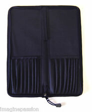 Black Padded Paint Brush Holder Craft Artists Portable Pencil & Pad Wallet Case