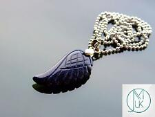 Blue Goldstone Gemstone Angel Wing Pendant Necklace Chakra Healing Stone