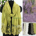 Fashion Embroidery Lace Floral Stitching Cotton With Lace Trim Long Scarf New