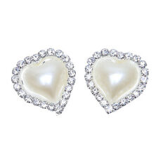 50pcs Wholesale Silver Plated Pearl Heart Rhinestone Flatback Stick-on Crafts D