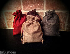 "JUTE HESSIAN BAGS - small jute gift bag 3.7""x 5"" (9.5cm-13cm) Red Grey Brown"