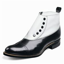 Stacy Adams Madison Black White-Spat Boot Biscuit Toe Zipper SIZE 10
