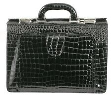 RAPHAEL Crocodile Alligator BLACK Doctor Bag Professional Briefcase made ITALY
