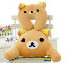 Rilakkuma San-X Bear U-shaped Pillow + Waist Cushion Car Office Travel Pillow