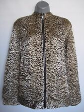 CHICO'S Womens Beige Black Animal Print Reversible Quilted Jacket Size 3 XL 16