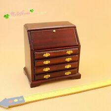 1:12 Dollhouse Miniature study library room furniture Brown Drop-Front Desk Kit