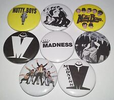 8 Madness pin badges 25mm Ska One Step Beyond Baggy Trousers Suggs Nutty Boys