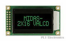 MIDAS    MC20805A12W-VNMLG    Alphanumeric LCD Display, 16, 8 x 2, Green, 5.56 m