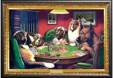 Coolidge Dogs Playing Poker Poster in Premium Silver Wood Frame 24x36