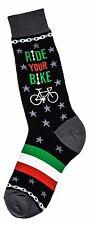 Foot Traffic Men's Pair Black Ride Your Bike Socks Cotton Blend Socks New