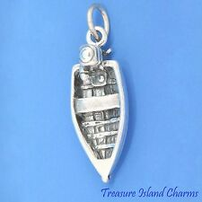 FISHING ROW BOAT WITH OUTBOARD MOTOR 3D .925 Sterling Silver Charm MOTORBOAT