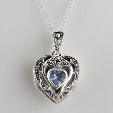 Marcasite Heart Locket Necklace - 925 Sterling Silver, CZ - Holds 3 Photos NEW