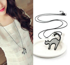 Fashion Black Rope Long Chain Rhinestone Crystal Lovely Cat Pendant Necklace