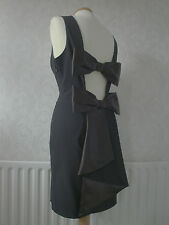 Gorgeous  Asos Black Open Back Double Bow Dress Size Small 12