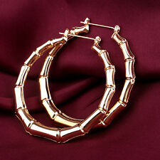 Fashion Women Punk Old School Gold Bamboo Big Hoop Large Circle Earrings Jewelry