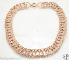 "18"" Bold Diamond Cut Triple Cuban Chain Necklace Real 14K Rose Pink Gold QVC"