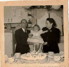 Old Vintage Photograph Baby with Mom & Dad At Birthday Party Cake  Retro Kitchen