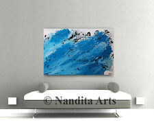 Turquoise PAINTING Blue modern art on canvas art artwork office decor wall art