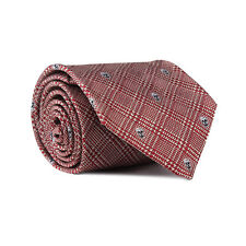 Alexander McQueen Claret Red Silver Prince of Wales Check Skull Pattern Neck Tie