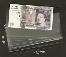 High Quality Paper Money Banknote Sleeves 85mm x 180mm. 25 Pieces, Brand New