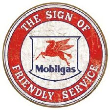 Mobil Gas Friendly Service Oil Weathered Vintage Retro Style Metal Tin SIgn New