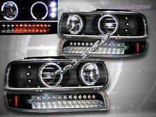 1999-2002 Chevy Silverado Black LED Headlights + LED Bumper Lights Twin Halo Rim