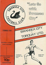 Swansea City v  Torquay  League/Milk Cup  19 Aug 1975 FOOTBALL PROGRAMME