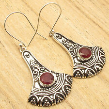 Vintage Fashion Online ! CUT RED RUBY Earrings 2 Inches ! Silver Plated Jewelry