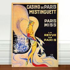 "Vintage French Caberet Poster Art ~ CANVAS PRINT 18x12"" Casino De Paris #2"