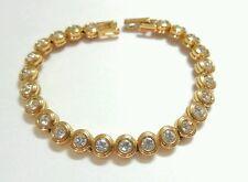 Nina Ricci Signed Bezel Set Crystal Rhinestone Gold Tennis Bracelet Costume
