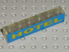 Brick clear 1 x 6 with Yellow/Blue HOTEL Pattern ref 3067p14 / Light brick